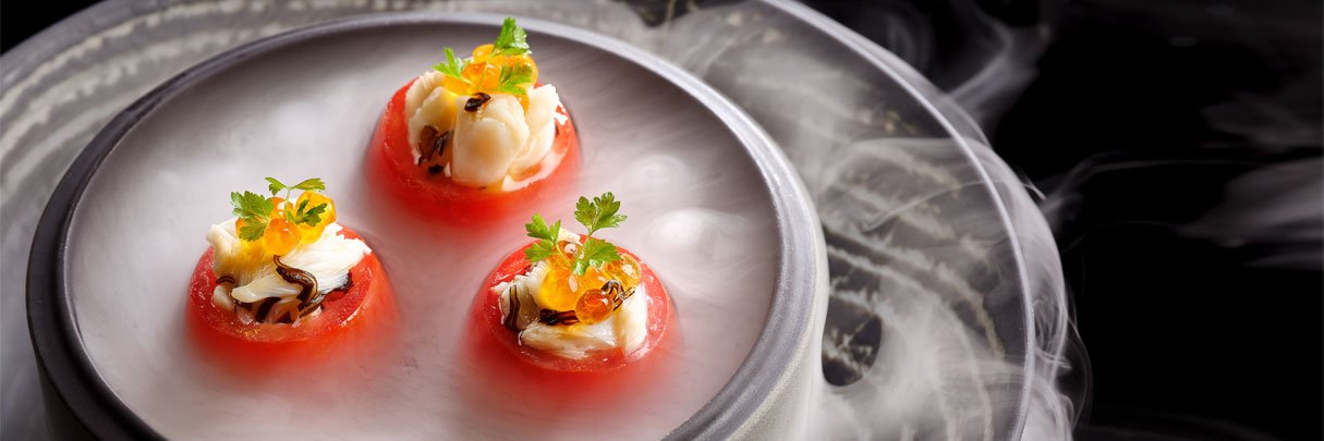 Roma tomatoes with yuzu and crab meat