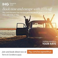 Looking for a sweet escape? Enjoy 25% savings when you book IHG® Escapes now for stays until the end